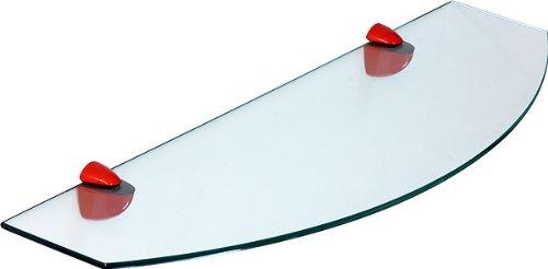 Ib-style - scaffale di vetro ovale scaffale da muro satinato 60 x 20 / 10 cm, tasselli a espansione colore rosso - reggimensole