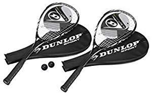 Dunlop Squashset: 2x Squashschläger BIOTEC LITE TI SILVER DELUXE + 2x Schlägerhülle + 3 hochwertige Bälle -