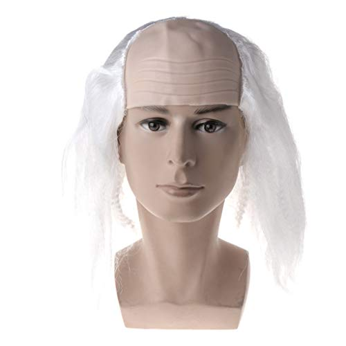 kuangkk Halloween-Perücke, kahles Haar, Kostüm, Party, lustiges Cosplay-Requisite, weiß, 33 cm