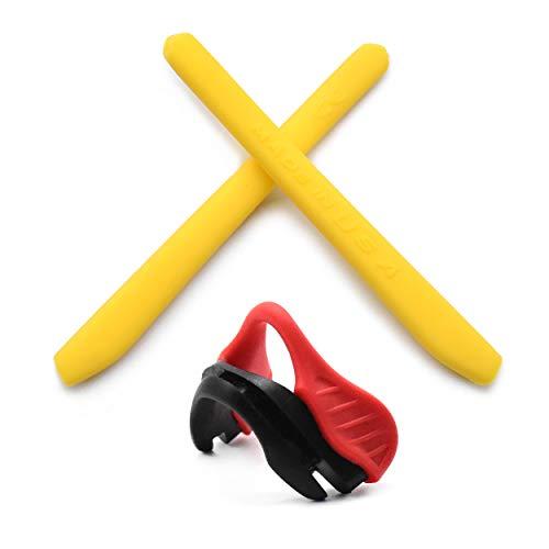 HKUCO Reinforce Gelb Ersatz Silikon Bein und Rot Nase Pads für Oakley EVZero OO9308 Gummi-Kit