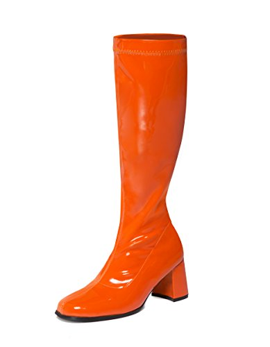 Orange Knee High Boots for 70s Fancy Dress. UK Sizes 3 to 11.