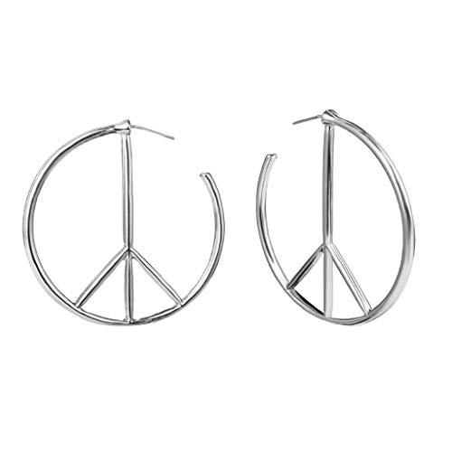 Im Alter Von Bronze-kreuz (UINGKID Ohrstecker Mode Einfache Stilvolle Attraktive Frauen Persönlichkeit Geometrische Runde Ohrringe Einfache Minderheit Friedenssymbol Ohrringe)