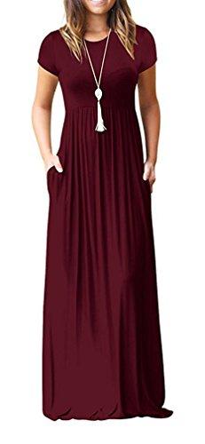 LILBETTER Frauen Kurzarm Bodenlangen kausalen Ebene Lose Maxi Tasche Kleid (Weinrot XL) (Die Manuelle Ebene)