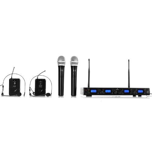 Malone UHF-550 Quartett 3 - sistema microfonico radiofonico, 4 microfoni senza cavo a mano, lunghi tempi di funzionamento, Display LCD, 4 x XLR e 1 x Uscita jack, custodia da trasporto, nero