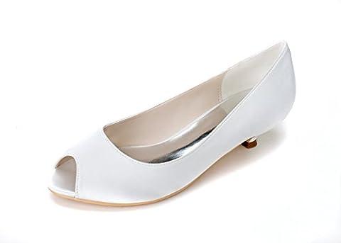 Women Heel Pump Shoes Sandal Fish Tip Simple, Blanc, US10.5/EU42/UK8.5