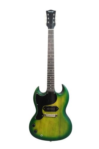 Gitarre Pickups P90 (Schöne Qualität Finish Glasgow von Quincy Strumpfstricknadel-Cutaway gewelltem Body Set in Hals Palisander Griffbrett 62,9 cm Mensur P90 Pick Up SG Junior Stil für 6-saitige E-Gitarre LEFT-HANDED matt green (left-handed))