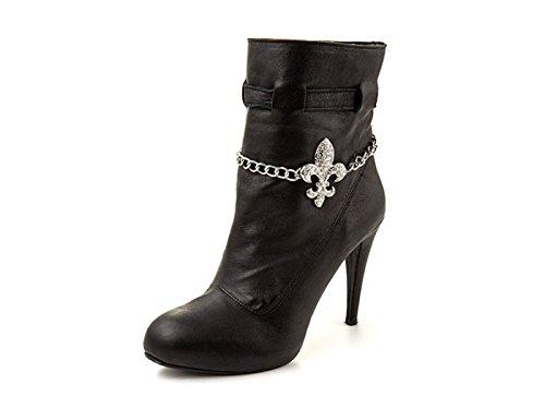 """La Loria - catena di stivali per le donne """"French Lily"""" catena di scarpe, gioielli accessorio con strass per abbellire le scarpe colore argento - 1 Coppia"""
