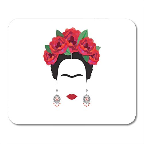 pad-Matte, Mouse pad Black Halloween Portrait of Mexican Spanish Woman Minimalist with Crafts Earrings and Red Flowers Catrina mouses pad 9.5x7.9 Inches Mousepad ()
