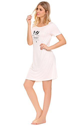ADOME Baumwolle Nachthemd Damen Kurz Nachtwäsche Panda Muster Sleepshirt Kurzarm Negligees Baumwolle Nachtkleid Sleepwear Weiß Blau Weiß