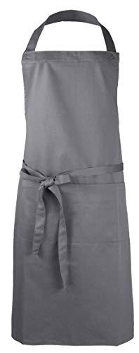Zollner Schürze Kochschürze aus Baumwolle, ca. 75x100 cm, grau (weitere verfügbar)