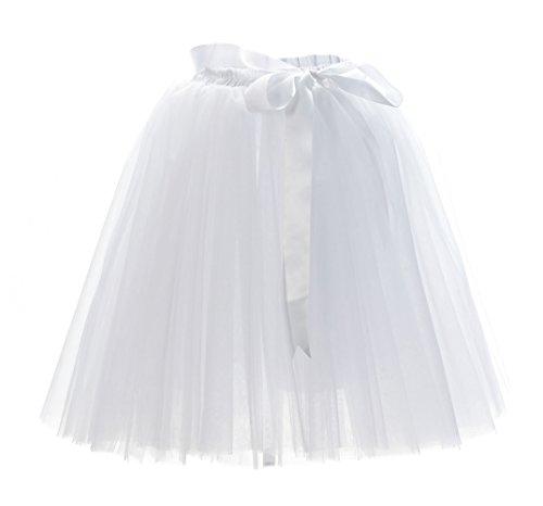 ock Tutu Tütü Petticoat Tüllrock 7 Schichten mit Gummizug für Karneval, Party und Hochzeit Weiß One Size (Herren Bane Kostüm)