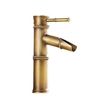 R/étro Cascade Motif bambou de salle de bain Lavabo Robinet mitigeur lavabo Laiton
