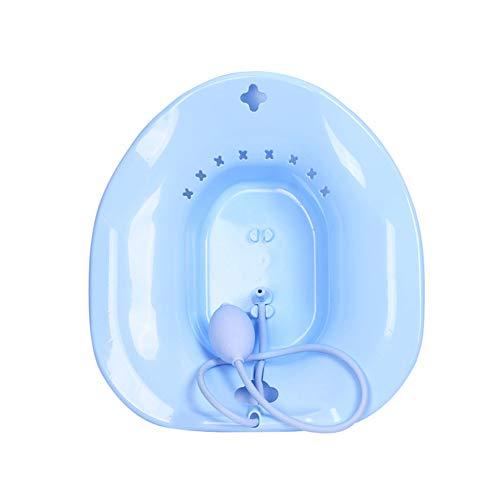 JKNM Sitzbad mit Flusher-Hüftbadewanne-Hämorrhoiden-Pflegebecken-Set für ältere Patienten,Blue