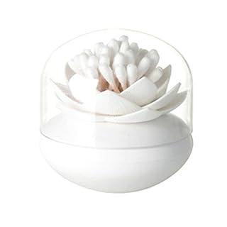 Aikesi Storage Box Lotus Shape Cotton Swab Box Cotton Buds Holder Case for Bathroom Makeup Organiser (White)