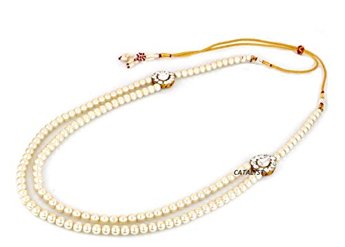 Catalyst White Pearl Necklace Jewellery for Groom | Dulha Moti Mala Haar for Men(CM1 WHT)