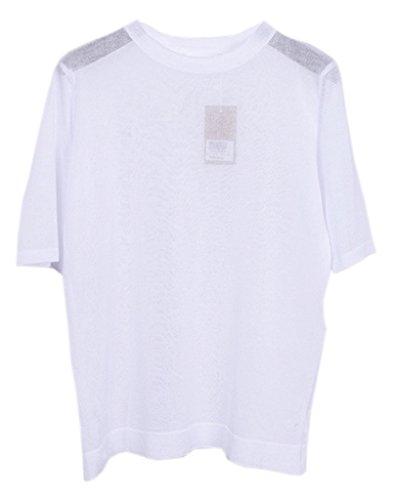 Bigood T-shirt Femme Lin Tricot Chemise Blouse Top Veste Manche Courte Col Rond Transparente Blanc
