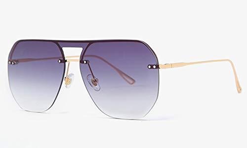 Sonnenbrille,EIN Stück Quadratische Sonnenbrille Frauen Die Hälfte Frame Metall Uv400 Farbverlauf Objektiv Randlose Sonnenbrillen Mann Sommer Gold Mit Schwarz