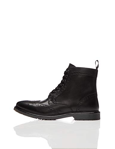 find. Leather Cleated Brogue Biker Boots, Schwarz Black), 45 EU
