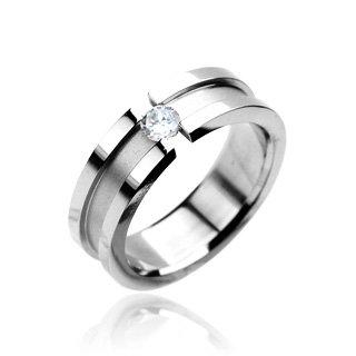 bungsa® impostato anello da donna con cristallo pietra zirconi in acciaio inox lucidato a specchio gioielli in argento anello (Ring Finger Anello partner anelli fidanzamento anelli Fido anelli anello anello in acciaio inox acciaio chirurgico), acciaio inossidabile, 24, colore: argento, cod. 2075n