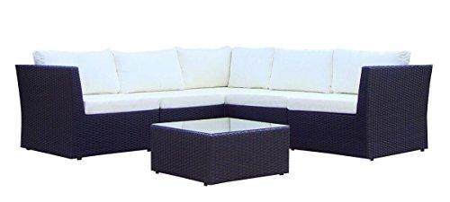 Baidani Atmosphère Ensemble canapé d'angle et table basse avec plateau en verre avec 2 lots de coussins de couleurs différentes noir