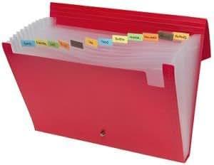 Tiger Porte-documents extensible avec fermeture élastique 13 compartiments Couleurs assorties A4