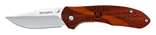 Remington 870111 Einhandmesser Heritage Clip Point | Klingenlänge: 7,7 cm | Liner Lock | Ovangkol-Holzschalen, mehrfarbig (Clip Point Taschenmesser)