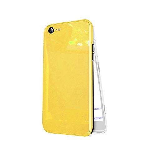 iPhone 6Plus Case, HONTECH Ultra Dünne magnetische Adsorption gehärtetem Glas Hard PC Cover mit eingebautem Magnet Flip Cover für Apple iPhone 6Plus 6+, iPhone 6 Plus, Gelb (Otterbox 6 Weiß Gold Und Iphone)