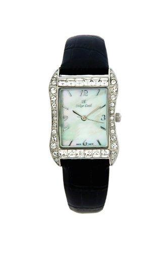 Oskar Emil ROCHELLE BLACK ladies mother of pearl crystal set watch