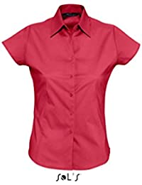 Sols - Damen Stretch-Kurzarmbluse 'Excess' M,Cardinal Red