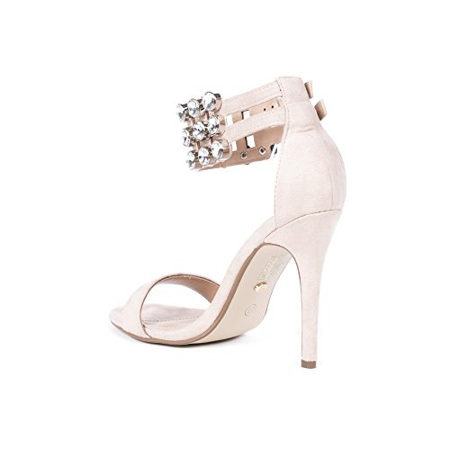 Ideal Shoes Sandales Effet Daim avec Bride Incrustée de Strass Celiana Beige