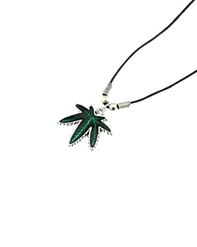 Zac's Alter Ego® Upside Down Green Pot Leaf Pendant on Wax Cord Necklace Pot Leaf
