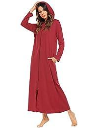 Bata Larga para Mujer Albornoz con Bata Capucha para Sauna Mullido Suave Túnica Pijama Modernas Casual
