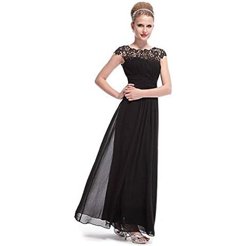 Puntada calada de encaje plegado vestidos de Gasa con mangas cortas vestidos . black . xxl