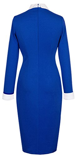 HOMEYEE - Vestito - Elegante Lapel carriera matita - Donna 751 Blu