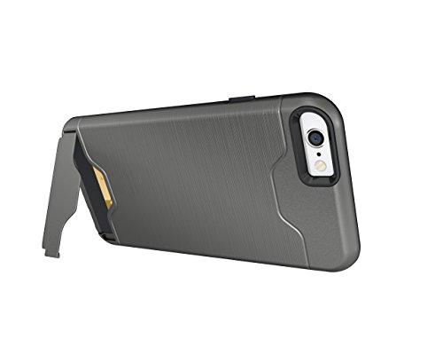 Cover iPhone 6S, Custodia iPhone 6, CaseLover Rigida Custodia con Porta Carte Integrato per Apple iPhone 6S / 6 (4.7 Pollici) Ultra Sottile PC Difficile Case Protettiva Dura Antiurto Hard Bumper con A Grigio