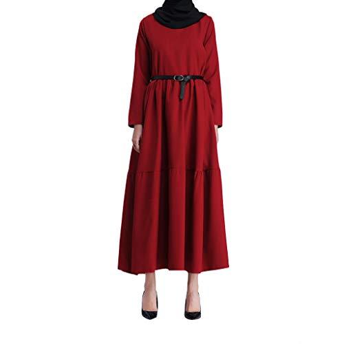 Lucky Mall Frauen Volltonfarbe Rundhals Losen Islamische Ramadan Robe + Gürtel, Damen Muslimische Gebetsanzug Lange Ärmel Kleid Mittlerer Osten Saudi Arabisch Traditionell ()