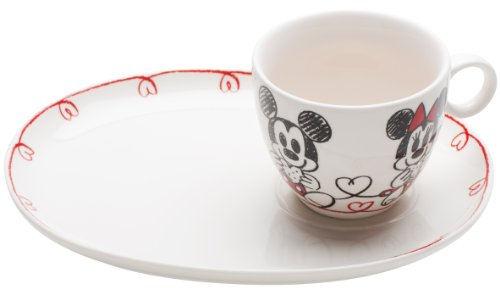 Zak Designs Disney Mickey and Minnie Mouse Porcelain Cookie and Milk Serving Set