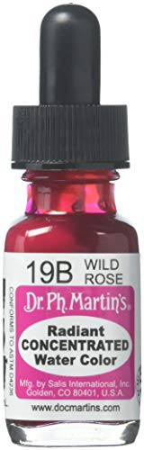 Dr Ph. Martin's Radiant Concentrated Water Color, 0.5 oz, Wild Rose (19B) - Rock Rose Dropper