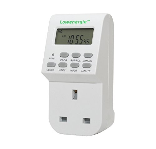 7 Day Programmable Digital Plug-In Electronic Timer socket 12-24 hour by Lowenergie by Lowenergie