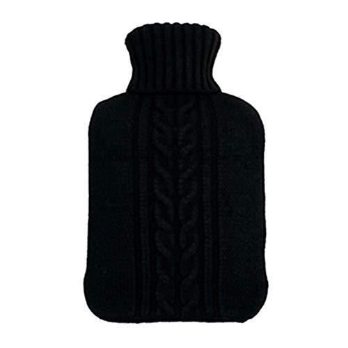 Vosarea 2L Premium-Soft-Strick-Abdeckung für Wärmflasche für schnelle Schmerzlinderung und Komfort (schwarz)