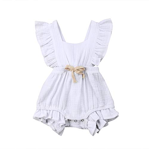 Greetuny Neugeborene Baby Mädchen Baumwolle Lace Ruffle Romper ärmellose Overall Body Outfits Set (White, 12-18m) (Baby-white Outfit)