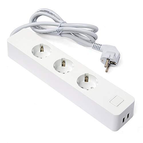 2 USB Mehrfachsteckdose Steckdosenleiste überspannschutz