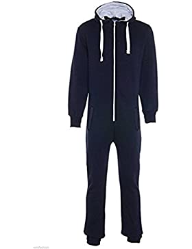 Unisex Jungen Kinder Plain Strampelanzug Zip UP All In One Kapuzen Jumpsuit 7-13