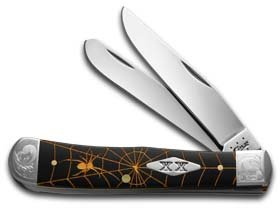 CaseXX XX Golden Spider Web Black Delrin Trapper 1/500 Stainless Pocket Knife Knives