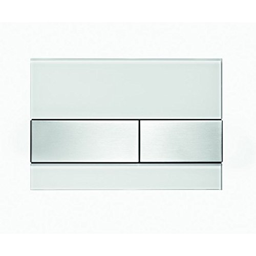 TECE Square WC Betätigungsplatte Glas weiß, Tasten Edelstahl gebürstet 9240801 Square Glas