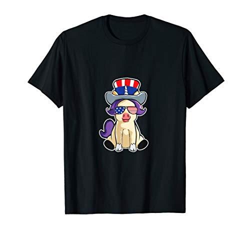4. Juli Patriotisches Einhorn mit Hut  T-Shirt (Juli T-shirts Niedlich, Vierter)