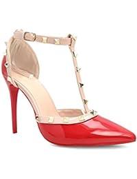 31badb2585bb6 Alx Trend scarpe da donna Decolletè in vernice con borchie Valeria - Rosso