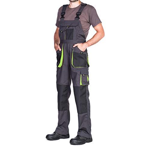 Salopette de Travail Homme, Pantalon de Travail Homme, avec des Poches Genouillere. Pantalon Travail Homme, Vetement Travail, Grande Taille S - XXXL, Vetement Homme, Noir (S, Noir/Vert)