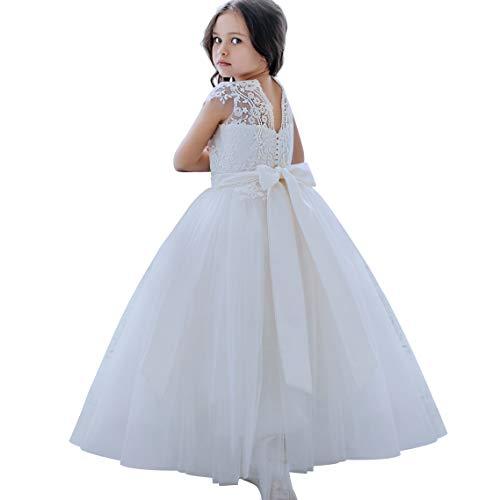 CQDY Blumenmädchenkleider Tüll Puffy Party Sleeveless Brautjungfer Spitze Abschlussball Pageant Kleider Hochzeit Geburtstag Weihnachtsfeier - Hochzeit Weiße Ballkleid