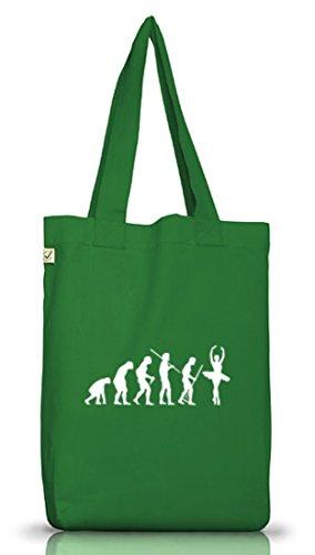 Shirtstreet24, EVOLUTION BALLETT, Ballerina Jutebeutel Stoff Tasche Earth Positive Moss Green